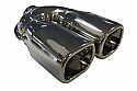 "TAIL PIPE Twin 3"" x 2.5"" Square Tailpipe Twin 76mm x 63mm In rolled tails with Perf insert. 51mm inlet. 210mm length. 179mm width."