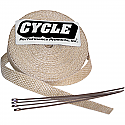 """HARLEY DAVIDSON CYCLE PERFORMANCE WRAP KIT EXHAUST 2"""" X 25' WITH TIE NATURAL/STAINLESS"""