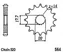 564-13 FRONT SPROCKET CARBON STEEL