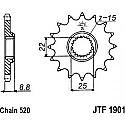 1901-14 FRONT SPROCKET CARBON STEEL