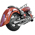 YAMAHA XVS1100A V-STAR CLASSIC, XVS1100 V-STAR CUSTOM, XVS1100AW V-STAR CLASSIC CAST WHEEL 1999-2011 BARON SLIP-ON MUFFLERS CHROME