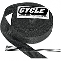 "CYCLE PERFORMANCE WRAP KIT EXHAUST 1"" X 50' WITH TIE BLACK/STAINLESS"