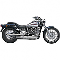 "YAMAHA XVS650 DRAG STAR, XVS650 V-STAR CUSTOM, XVS650A V-STAR CLASSIC, XVS650AT V-STAR SILVERADO 1997-2015 EXHAUST SYSTEM 2"" DRAG PIPE SLASH CUT CHROME"