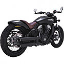 VANCE & HINDS INDIAN SCOUT MODEL 15-18 INC SIXTY & BOBBER MUFFLER TWIN SLASH STAGGERED SLIP-ONS BLACK