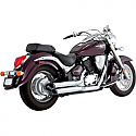SUZUKI C50 BOULEVARD, M50 BOULEVARD, VL800C INTRUDER, VL800Z VOLUSIA, VZ800 INTRUDER 2005-2009 EXHAUST TWIN SLASH STAGGERED CHROME