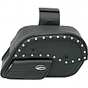 SADDLEMEN SADDLEBAG UNIVERSAL THROW-OVER STUDDED SLANT BLACK-CHROME