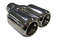 "TAIL PIPE Twin 3"" TailpipeTwin 76mm (3 inch) Bullet style on Y with Perf inserts. 63mm inlet. Length 200mm. Total width 155mm"