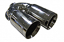 "TAIL PIPE Twin 3"" Tailpipe Twin 76mm (3 inch) staggered on a Y, Double Skinned. 51mm inlet. Length 225mm. Total width 225mm"