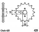 425-15 FRONT SPROCKET CARBON STEEL