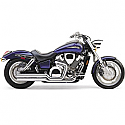 HONDA VTX1800C, HONDA VTX1800F 2002-2008 EXHAUST SYSTEM HOT ROD SPEEDSTER SHORT 2 INTO 2 STRAIGHT-CUT TRIPLE-CHROME