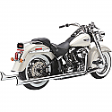 H/D FLST, FXST TRUE DUALS EXHAUST SYSTEM CHROME WITH FISHTAIL TIPS