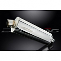 DELKEVIC EXHAUST SILENCER WITH REMOVABLE BAFFLE 350mm OVAL STAINLESS STEEL