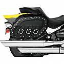KAWASAKI VN1500 VULCAN CLASSIC, VN1500 VULCAN CLASSIC TOURER, VN1500FI VULCAN CLASSIC 1998-2008 SADDLEBAG SPECIFIC FIT SYNTHETIC LEATHER PLAIN STUDDED BLACK