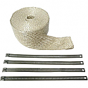 """CYCLE PERFORMANCE WRAP EXHAUST PIPE 2"""" X 25' WITH FOUR SILVER CLAMPS"""