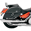 YAMAHA XVS1100 DRAG STAR, XVS1100 V-STAR CUSTOM, XVS1100A V-STAR CLASSIC, XVS1100AT V-STAR SILVERADO 1999-2011 SADDLEBAG SPECIFIC FIT RIGID MOUNT SYNTHETIC LEATHER TEARDROP STUDDED CONCHO BLACK