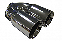 TAIL PIPE Twin 3 Twin 76mm (3in) Double skinned on a Y. 51mm Inlet. Length 210mm. Total width 165mm