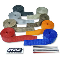 """CYCLE PERFORMANCE WRAP KIT EXHAUST 2"""" X 50' WITH TIE METALLIC/STAINLESS"""