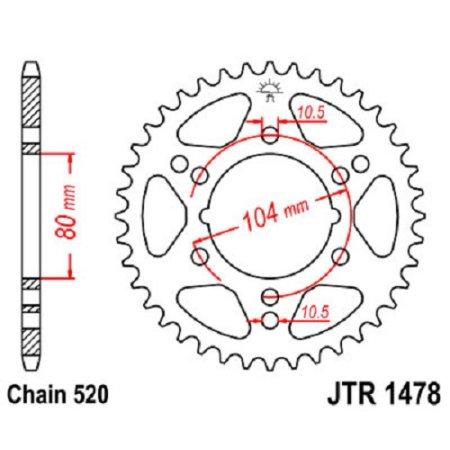 1478-40 REAR SPROCKET CARBON STEEL