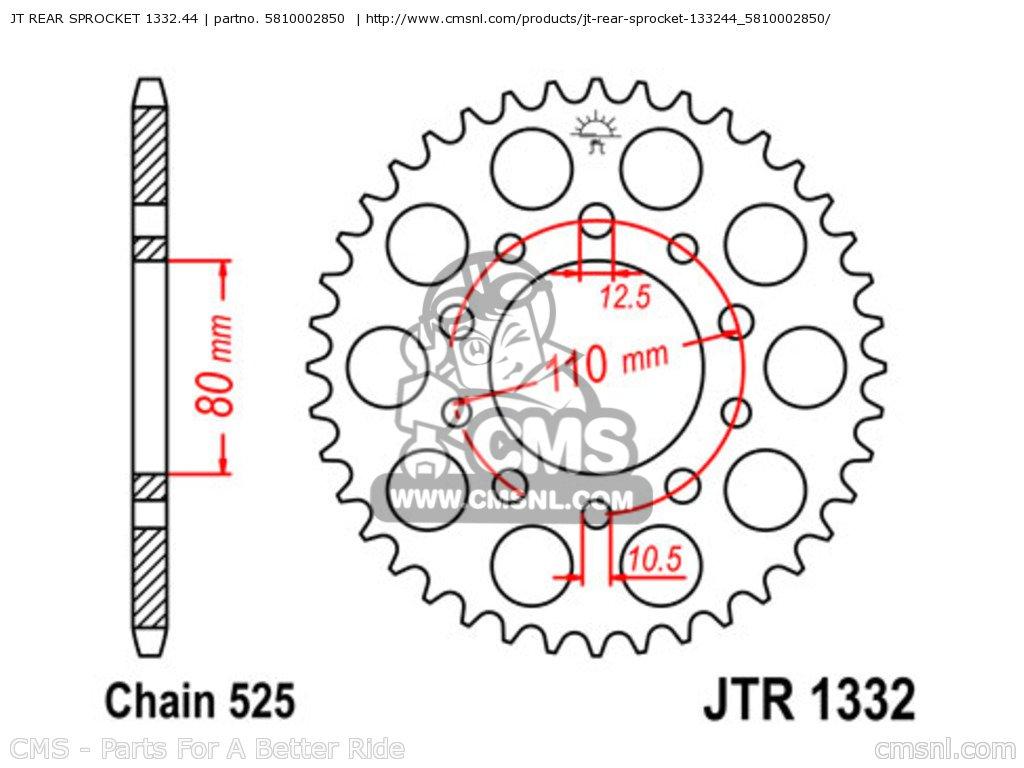 1332-44 REAR SPROCKET CARBON STEEL