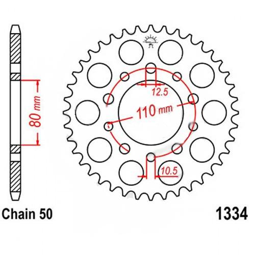 1334-43 REAR SPROCKET CARBON STEEL