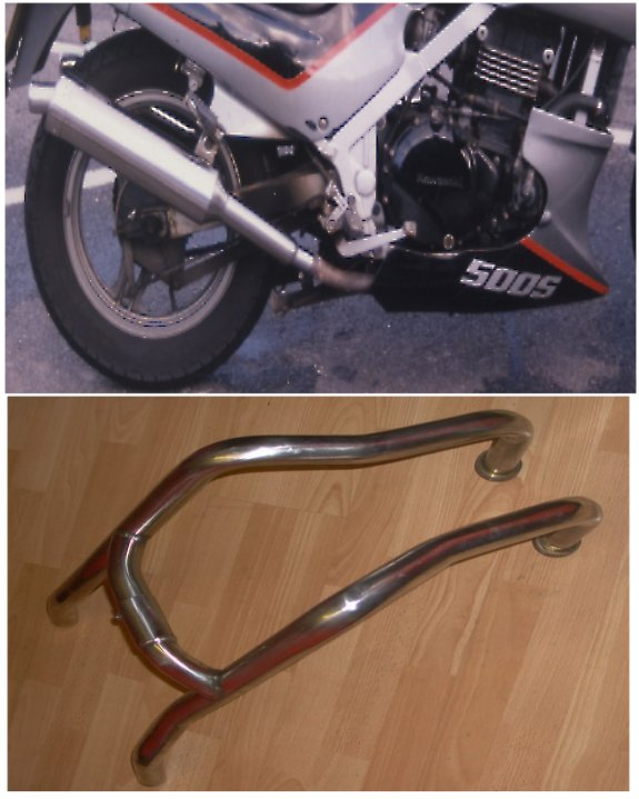 KAWASAKI GPZ500S, GPX500, EX500 (87-08) PREDATOR DOWN PIPES WITH LINK PIPE IN S/STEEL