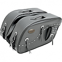 ALL AMERICAN RIDER SADDLEBAG FUTURA 2000 TRIPLE EXTRA LARGE RIVET CONCHOS BLACK