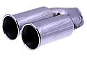 TAIL PIPE Twin 3.5 inch Out Roll on Y Polished 304 Twin Tail assembly