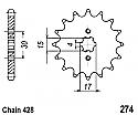 274-14 FRONT SPROCKET CARBON STEEL