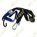 TIE DOWNS 38MM WIDE WITH HOOK & SNAP HOOK - BLUE/BLACK (PAIR)