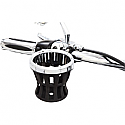 """CIRO3D DRINK HOLDER WITH BAR MOUNT 1.25"""" BLACK AND CHROME RING"""