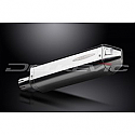 DELKEVIC EXHAUST SILENCER WITH REMOVABLE BAFFLE 320mm TRI-OVAL STAINLESS STEEL (left)