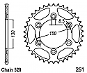 251-51 REAR SPROCKET CARBON STEEL